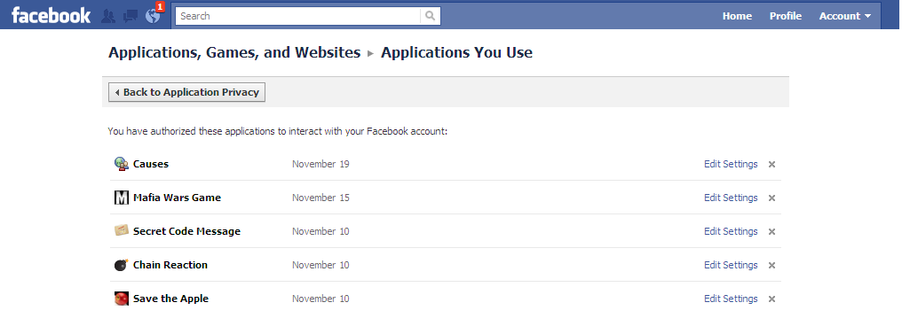 uninstall facebook apps