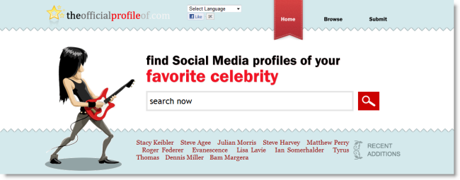 find social media profiles of your favourite celebrities